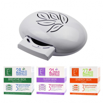 Pack Découverte Aromathérapie (1 Diffuseur IRIS Blanc + 1 recharge Energy Box + 1 Sleep Box + 1 Breathe Box) - E2 Essential Elements