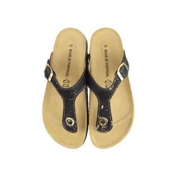 Sandales PALMA Noir-or, Paire vue dessus