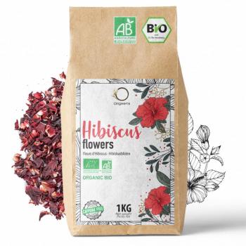 Hibiscus Bio 1kg Grade Supérieur - Fleur Hibiscus pour Bissap, Thé glacé, Infusion et Tisane - Cure Detox Drainante - Fleurs d'Hibiscus Séchées Bio