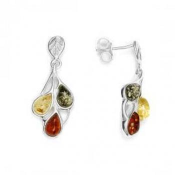 Boucles d'oreilles en ambre de la Baltique sur argent 925.