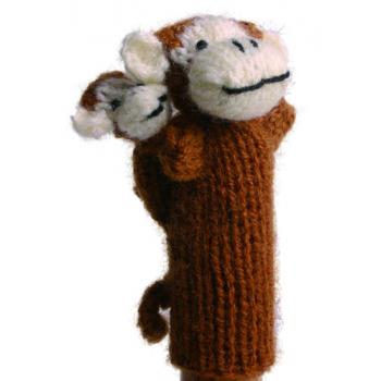 """Marionette tricotée """"singe avec enfant"""""""