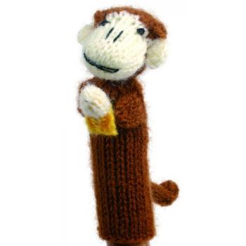 """Marionette tricotée """"singe avec banane"""""""