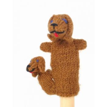 """Marionette tricotée """"chien avec enfant"""""""