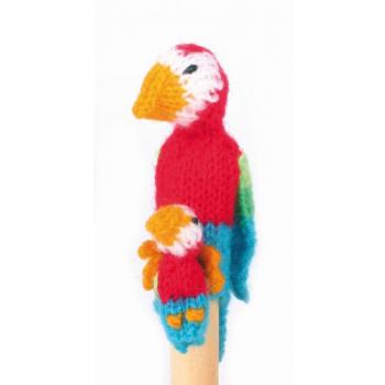 """Marionette tricotée """"perroquet avec enfant"""""""