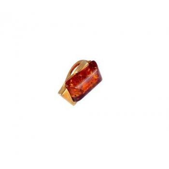Pendentif en ambre cognac de la Baltique sur vermeil.