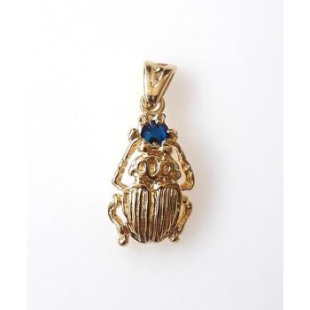 Pendentif plaqué or scarabée cristal d'azri bleu