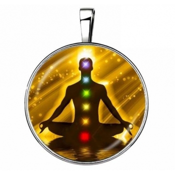 Pendentif 7 chakras zen argenté 15 en 1