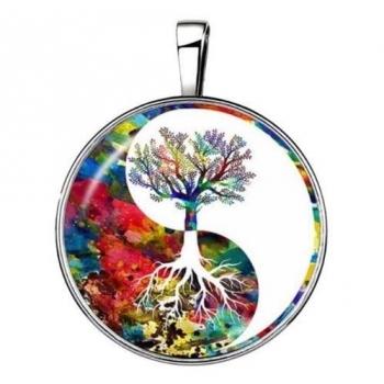 Pendentif arbre de vie inversé coloré 15 en 1 argenté