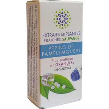 PEPIN DE PAMPLEMOUSSE Teinture Mère  d'extaits de plantes fraiches granules  Sans Alcool 130 granulesSoutien du système immunitaire- Fatigue