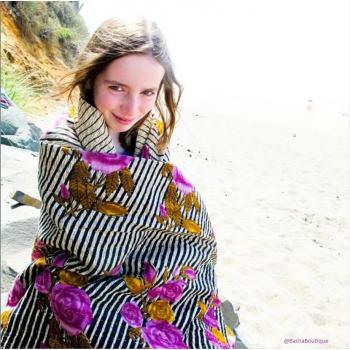 Grand Kantha - Drap de plage 2m x 1m avec surpiqures à partir de 6 saris recyclés cousus ensemble