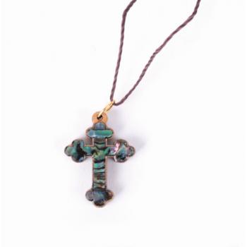 Pendentif croix corde coton