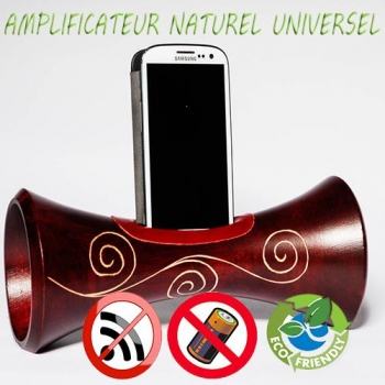 Eco Speaker enceinte naturelle écologique en bois amplificateur sans onde pour téléphone portable dock iphone, samsung androïd ou IOS