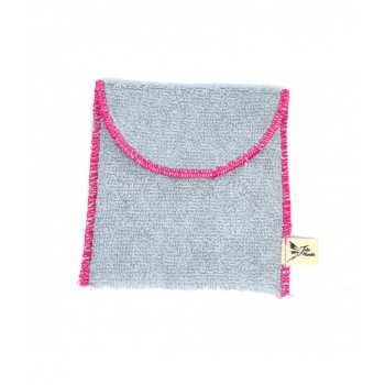 Pochette savon en coton éponge Gris bio pour cosmétiques solides