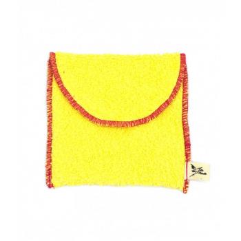 Pochette savon en coton éponge Jaune bio pour cosmétiques solides