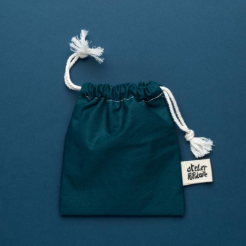 Pochette de transport en coton enduit - Savon et cosmétique solide - Vert uni