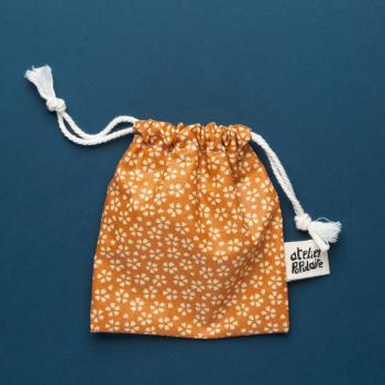 Pochette de transport en coton enduit - Savon et cosmétique solide - Jaune fleuri
