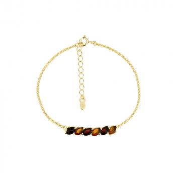 Bracelet ambre bicolore sur vermeil.