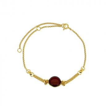 Bracelet en ambre cerise sur vermeil.