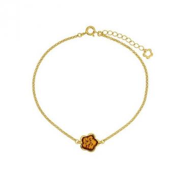 Bracelet ambre sur vermeil.