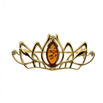 Broche couronne en ambre miel sur vermeil