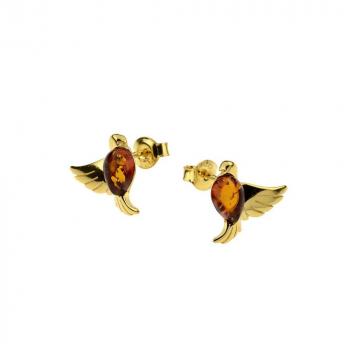 Boucles d'oreilles colombes en ambre de la Baltique sur vermeil,