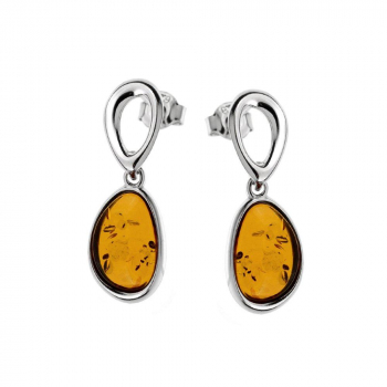 Boucles d'oreilles ambre cognac sur argent rhodié 925.
