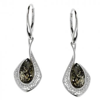 Boucles d'oreilles ambre vert et argent rhodié 925/1000.