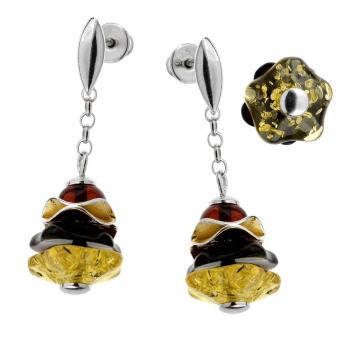 Boucles d'oreilles en ambre  de la Baltique sur argent 925 rhodié