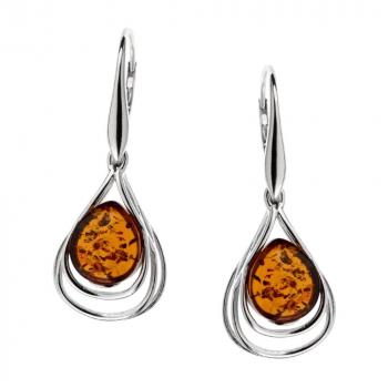 Boucles d'oreilles ambre cognac et argent rhodié 925/1000.