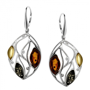 Boucles d'oreilles en ambre multicolore sur argent 925 rhodié.