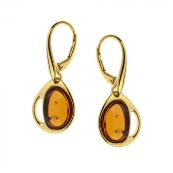 Boucles d'oreilles en ambre de la Baltique sur vermeil