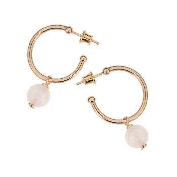 Boucles d'oreilles créoles  quartz rose sur vermeil