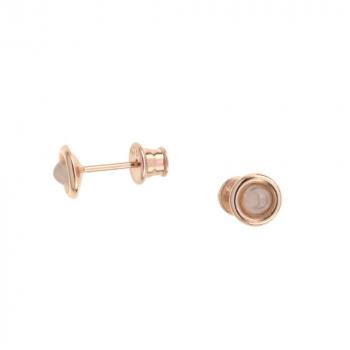 Boucles d`oreilles en quartz rose sur vermeil rose.