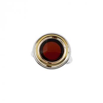 Bague ambre sur argent rhodié et vermeil