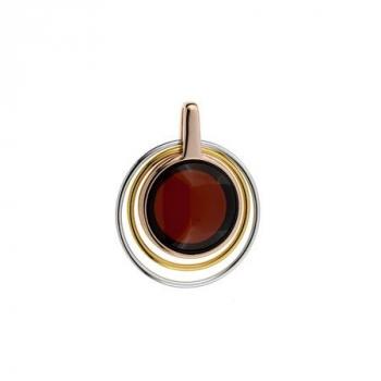 Pendentif en ambre cerise sur argent rhodié et vermeil.