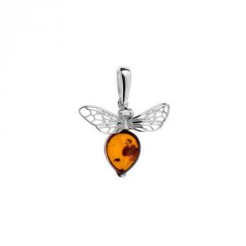 Pendentif  abeille en ambre cognac sur argent rhodié.