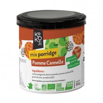 Mix Porridge Pomme - Cannelle Bio KoKoji - 350g - Sans gluten - Sans sucre ni matière grasse ajoutés - Vegan - Fabrication française