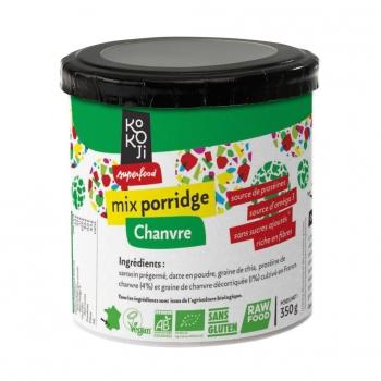 Mix Porridge Protéine + Chanvre Bio KoKoji - 350g - Sans gluten - Sans sucre ni matière grasse ajoutés - Vegan - Rawfood - Fabrication française