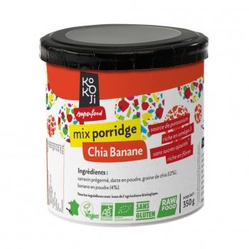 Mix Porridge Chia - Banane Bio KoKoji - 350g - Sans gluten - Sans sucre ni matière grasse ajoutés - Vegan - Fabrication française