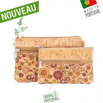 """Porte monnaie & Pochette liege """"Flower Power"""" - Lot de 2"""