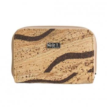 Portefeuille porte-monnaie en liège tigré