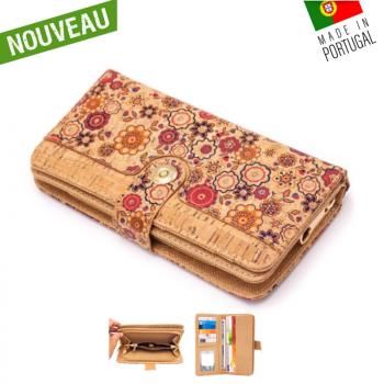 """Portefeuille en liège naturel """"Bouton central Flower"""" - Porte-monnaie en liège"""