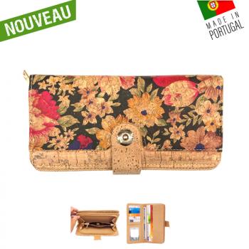 """Portefeuille en liège naturel """"Bouton central fleurs fond noir"""" - Porte-monnaie en liège"""