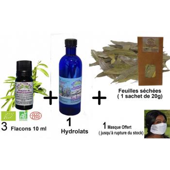 Mandravasarotra ( saro) Offre globale 1 : 3 flacons 10 ml Huile essentielle + 1 flacon d'Hydrolat 200 ml + 1 sachet de feuilles