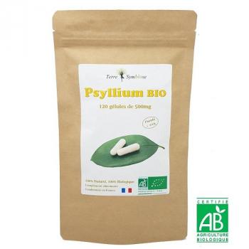 Tégument Psyllium Bio - 120 gélules de 500mg Biologique - Pureté 99%