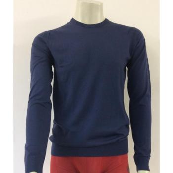 PULL FIN HOMME en pure laine merinoscol O finitions bord côte coloris bleu indigo