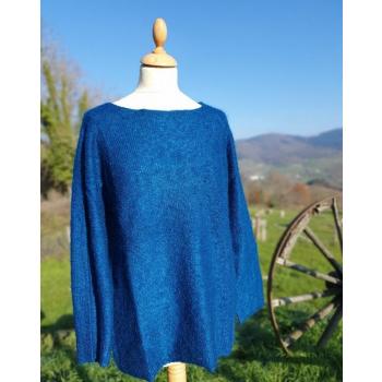 Pull Tunique sans couture 77%Mohair 23% Soie couleur Bleu Denim