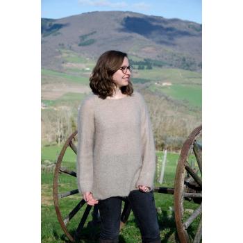 Pull Tunique sans couture 77%Mohair 23% Soie couleur Beige
