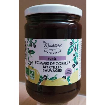 Purée Pomme / Myrtilles sauvages La Monédière 550g