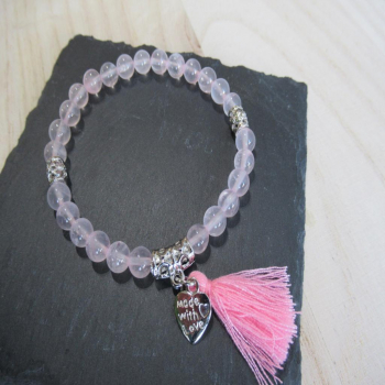 Bracelet quartz rose coeur 6mm